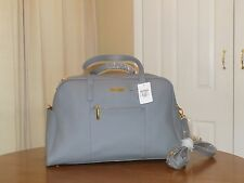 JOY & IMAN Leather Designer Fashionably Functional Weekender Duffle New GRAY HSN