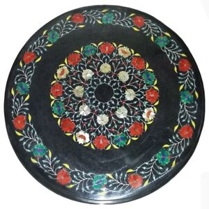 "24"" round marble center coffee Table Top pietra dura marquetry art work"