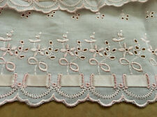 """5 YDS LOT~1980's Broderie Anglaise 'Ribbon Eyelet' Trim~8&1/4""""=21CM~Cotton~Pink"""