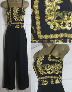 NEW Quiz Womens Scarf Print Jumpsuit Wide Leg Evening Party Black Gold 8-16