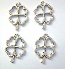 4 x  LUCKY FOUR LEAF CLOVER/ SHAMROCK SILVER COLOUR 25mm x 18mm
