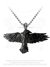 Alchemy Black Raven Pendant/Necklace P193, pewter/gothic/goth/chain/crow/wicca