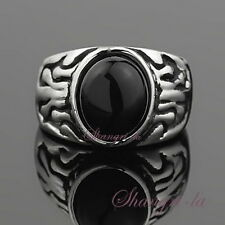 4157 VINTAGE Style White GOLD GF BLACK Agate STONE Womens Costume RING 10#