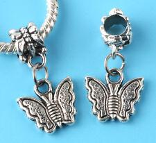 2pcs Tibetan silver butterfly Charm bead fit European Bracelet Pendant DIY #D154