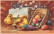 Easter~Fat Chicks in Window Portal~Colorful Decorated Eggs~Violets~Pussy Willows