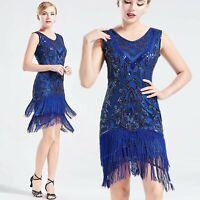 US STOCK Vintage Blue Unique 1920s Flapper Dress Long Fringed Gatsby Dress