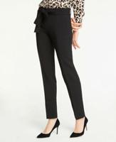 ANN TAYLOR Petite Black The Ankle Tie Waist Pants - NWT Womens Sz 8P
