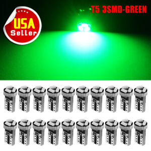 20X Green Wedge T5 3-SMD LED Bulbs Dash Instrument Gauge Speedometer Light 74 17