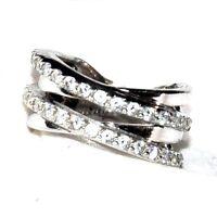Bague croisillon argent massif 925 zirconium blanc T 52 bijou ring