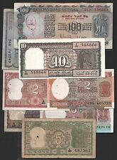 indian old  notes 100 + 10 + 4 deer + 5 + 2 + 2 + 1 + 1  eight  notes  set
