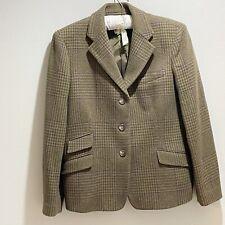 RALPH LAUREN Women's Green Houndstooth Tweed Equestrian Blazer Wool Jacket 16