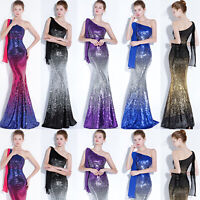 NEW Evening Formal Party Ball Gown Prom Bridesmaid Fishtail Sequins Slim Dress