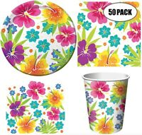 Tropical Hawaiian Luau Flower Summer Party Pack for 18 or 50