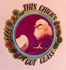 VTG 70s Punk Girl chick sexy cute chicken chickadee rock funny t-shirt Iron-On