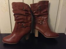 Brown Boots Chunky Block Heel Size 6/7
