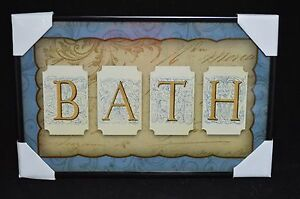 "Wall Art Bath w/ letter writing background Picture Sign 11""w Glass #291"