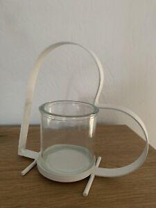 Dekoherz Aufsteller Metall HERZ mit Windlicht Glas Vase weiß
