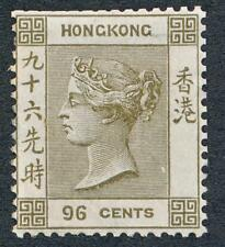 HONG KONG 24, MINT LH, 96c GRAY VICTORIA, NIBBED @ TOP