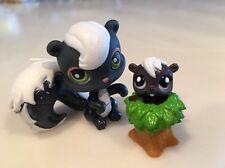 Littlest Pet Shop Figure LPS 253 Black White Skunk Green Eyes Teensies Tiny Baby