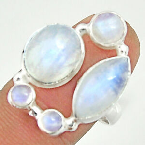 WHOLESALE 13.07cts Natural Rainbow Moonstone 925 Silver Ring Size 8 R22236