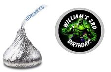 THE INCREDIBLE HULK CUSTOM HERSHEY KISS LABELS STICKERS BIRTHDAY PARTY FAVORS
