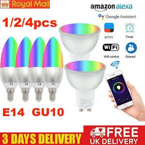 E14/GU10 RGB Light WIFI Smart APP Remote Control Bulb LED Lamp for Google&Alexa
