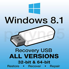 *WINDOWS 8.1 HOME 64-bit Recovery Install Reinstall Restore USB Flash Drive