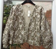 BNWT RIVER ISLAND METALLIC BEADED SEQUIN LINED JACKET COAT SIZE 12 RRP £75