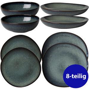 VILLEROY & BOCH 8tlg Starter Set Speiseteller Schale Bol Steingut Lave gris