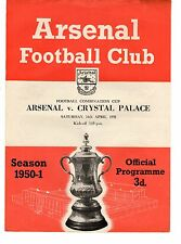 Arsenal v Crystal Palace Reserves Programme 14.4.1951 Combination Cup