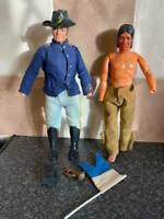 VINTAGE MARX TOYS LONE RANGER CAVALRY SOLDIER & TONTO FIGURES HONG KONG RARE