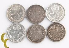 1834-1896 Great Britain 3 Pence Lot (VG-XF, 6 coins) Silver Three Pence England