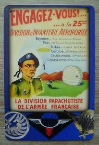 Plaque métal division Parachutistes guerre d'Indochine Algérie brevet para TAP