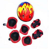 Children 7Pcs Skating Protective Gear Helmet + Knee Elbow Wrist Pads Set Beamy