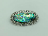 Gorgeous Vintage Rhodium Sterling Silver Fiery Abalone Shell Ornate Oval Brooch