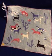 Mid Century Peg Thomas Handkerchief Hankie Linen  Western Horses Cactus Owls NOS