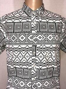Eighty Eight Platinum Shirt Geometric Black, White Button Up Medium