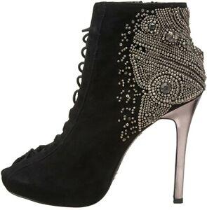 Sam Edelman Quantum Black Suede Heel Boots 8US $475