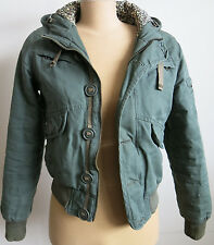 TALULA Aritzia Size Small Hooded Jacket Cotton Full Zip Button Down Army Green