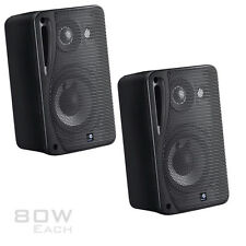 2x Moisture Resistant Black Surround Speakers 80W Incl Wall Brackets 1 Pair HiFi