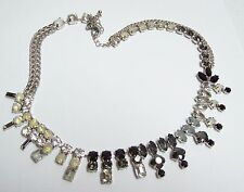 Glamorous EXPRESS Smokey Black & Clear Rhinestone Runway Necklace
