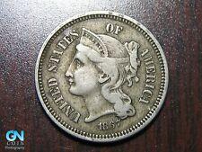 1867 3 Cent Nickel Piece    BETTER GRADE!  NICE TYPE COIN!  #B1246