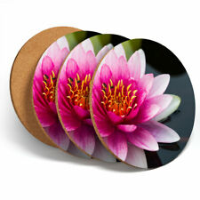 4 Set - Pretty Lotus Flower Nature Coasters - Kitchen Drinks Coaster Gift #3762