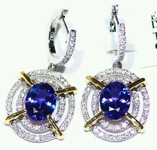 3.81CT 14K Gold Natural Tanzanite D Block Diamond Engagement Vintage Earrings