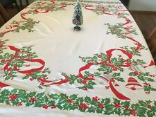 vintage 50s Christmas tablecloth, bells, holly 51 x 56