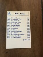 1969 Boston Patriots AFL American Football League Roster Schedule New England MT
