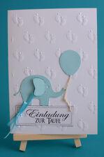 3D Einladungskarten mit Umschlag Taufe hell Blau Rosa