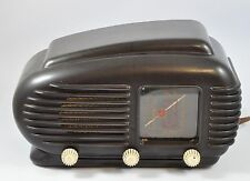 1950`s Rare Tesla Talisman 308U Streamline Bakelite Tube Art Deco Radio Brown