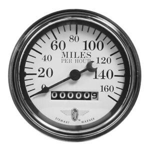 Stewart Warner 82663 Wings Mechanical Speedometer, White