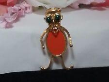 Vintage Gold Selro Selini Figural Tribal Man Orange Ethnic Brooch Pin